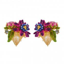 Boucles D'oreilles Clip Boucles D'oreilles Clip Fleur De Fruit De La Passion Sur Pierre Triangulaire