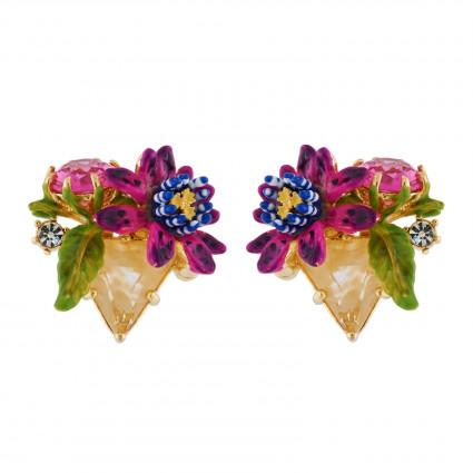 Boucles D'oreilles Clip Boucles D'oreilles Clip Fleur De Fruit De La Passion Sur Pierre Triangulaire90,00€ AHED104C/1Les Nér...