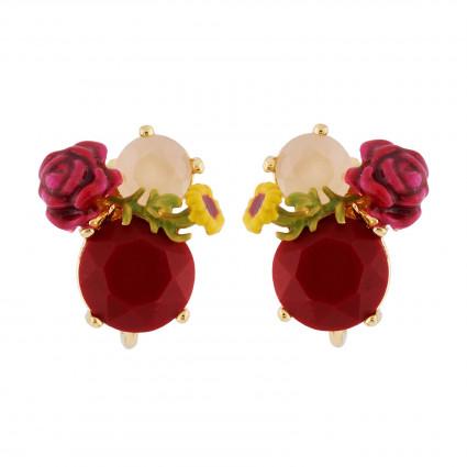 Boucles D'oreilles Clip Boucles D'oreilles Clip Rose Et Verre Taillé Sur Pierre