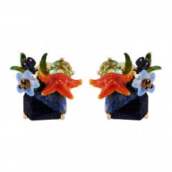 Boucles D'oreilles Clip Boucles D'oreilles Clip Étoile De Mer Et Verre Taillé Sur Pierre Bicolore