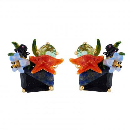 Boucles D'oreilles Tiges Boucles D'oreilles Étoile De Mer Et Verre Taillé Sur Pierre Bicolore