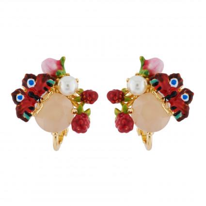 Boucles D'oreilles Clip Boucles D'oreilles Clip Papillon, Perle Et Bouton Sur Verre Taillé