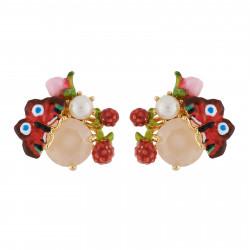 Boucles D'oreilles Tiges Boucles D'oreilles Papillon, Perle Et Bouton Sur Verre Taillé