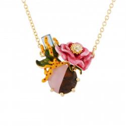 Colliers Pendentifs Collier Cristal Et Fleur Rose Sur Pierre Bicolore