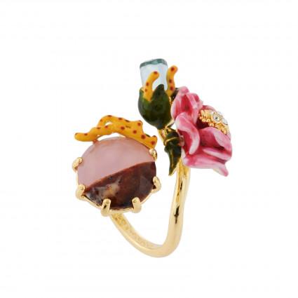 Bagues Ajustables Bague Ajustable Cristal, Fleur Rose Et Pierre Bicolore