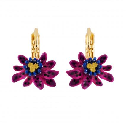 Boucles D Oreilles Dormeuses Petite Fleur Violette De Fruit De La