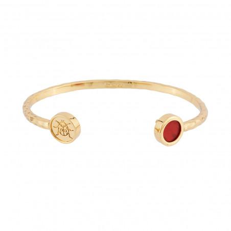 Collier cardinal rouge, bouton de rose et perles turquoises