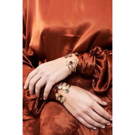 Bague 3 anneaux, rose éclose et rose en bouton