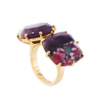 6 aurore purple stones little hoops