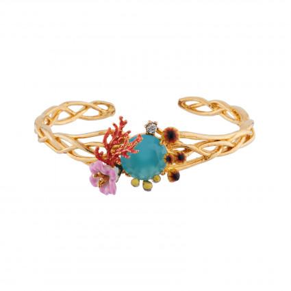 Bracelets Jonc Bracelet Jonc Coraux, Champignons De Mer Et Fleurs Sur Verre Taillé Bleu150,00€ AIFM203/1Les Néréides