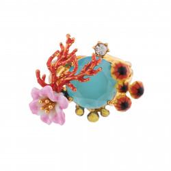 Bagues Cocktail Bague Coraux, Champignons De Mer Et Fleurs Sur Verre Taillé Bleu