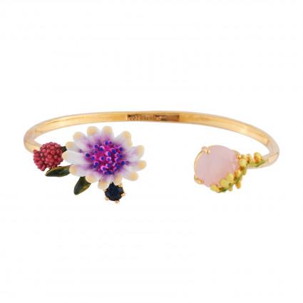 Bracelets Jonc Bracelet Jonc Fleur Blanche Au Pistil Rose Et Bleu Et Verre Taillé120,00€ AISF203/1Les Néréides