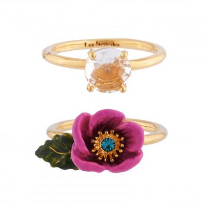 Bagues Multi-anneaux Bague 2 Anneaux Fleur Rose Au Pistil En Strass Et Verre Taillé95,00€ AISF602/1Les Néréides
