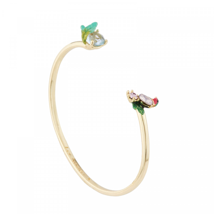 Boucles d'oreilles clip chat agrippé à une branche fleurie et pierre bleue
