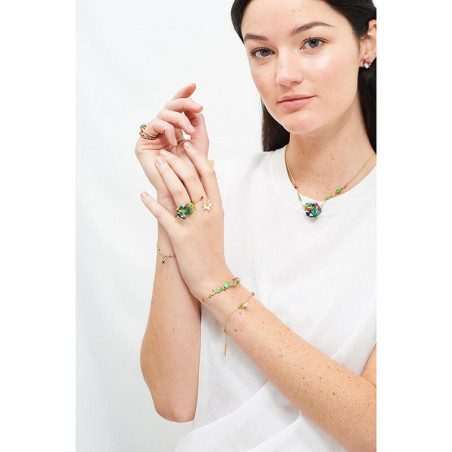 Black round stone bracelet