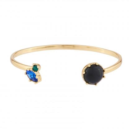 Black round stones luxurious necklace