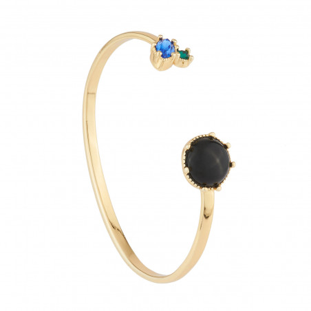 Collier luxe ras de cou pierres rondes noires