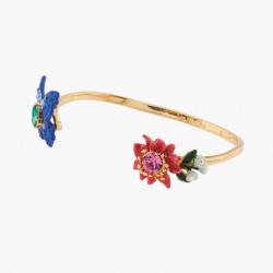 Boucles d'oreilles clip semies précieuses trèfle à 4 feuilles et chaîne perlée