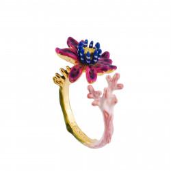 Bagues Ajustables Bague Ajustable Fleur De Fruit De La Passion Et Petite Branche De Corail