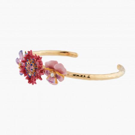 Collier set de pierres roses, vertes et dorées