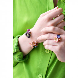 Two-coloured and little grey and golden stones ring
