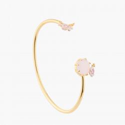 Bracelets Jonc Bracelet Jonc Mariage Fleurs Roses Et Parmes Sur Pierre Rose110,00€ AKJV203/1Les Néréides