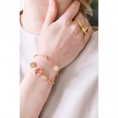 Boucles d'oreilles petite fleur rose, perles et verre taillé