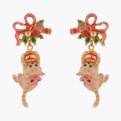 Ballerina paved with topaze orange crystals asymetrical earrings