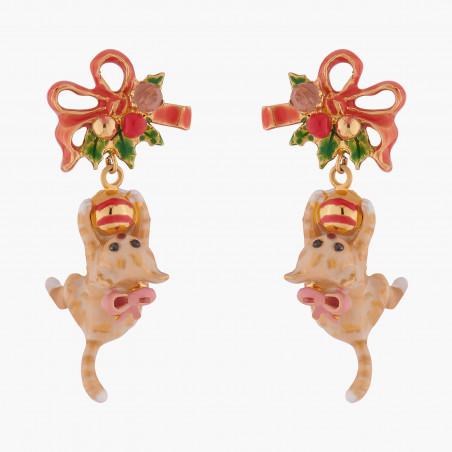 Boucles d'oreilles ballerines asymétriques tutu pavé de strass topaze