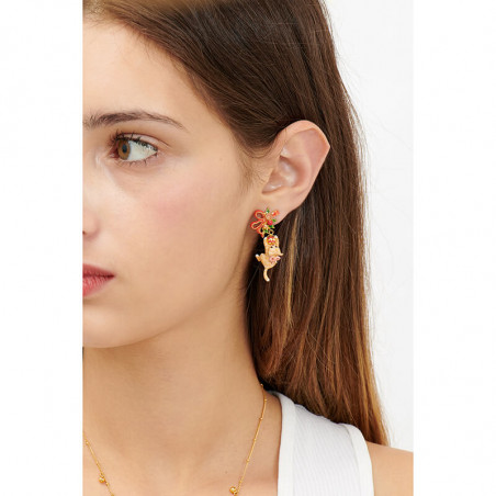 Toe-dancing ballerina paved with topaze orange crystals clip earrings