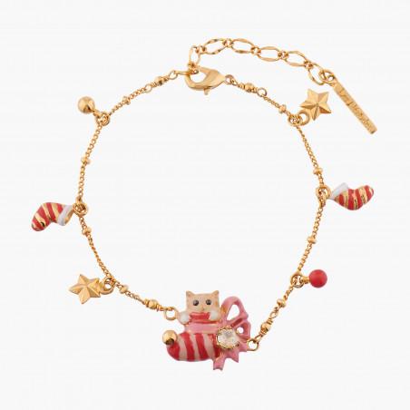 Boucles d'oreilles coléoptère longicorne sur pierre rose
