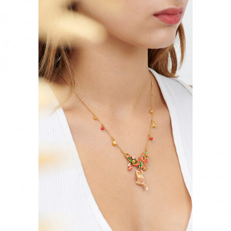 Exotic beetle on pink stone necklace