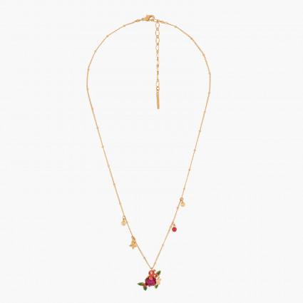 Beige ladybird on brown stone necklace