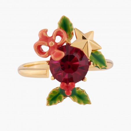 Exotic beetle on pink stone ring