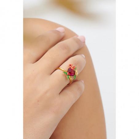 Bague ajustable coléoptère longicorne sur pierre rose
