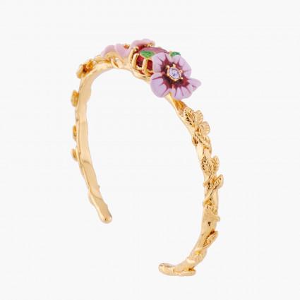 Pink And Violet Flowers Bangle Bracelet Les Nereides