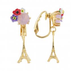 Boucles D'oreilles Clip Boucles D'oreilles Clip Tour Eiffel Et Verre Taillé Fleuri