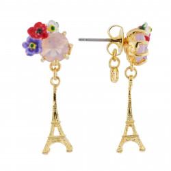 Boucles D'oreilles Pendantes Boucles D'oreilles Tour Eiffel Et Verre Taillé Fleuri