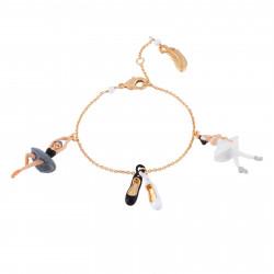 Bracelets Bracelet Ballerines Cygnes Noir Et Blanc Et Petits Chaussons De Danse60,00€ AGBB201/1N2 by Les Néréides