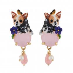 Boucles D'oreilles Clip Boucles D'oreilles Clip Chihuahuas Et Pierre Rose110,00€ AGLA102C/1Les Néréides