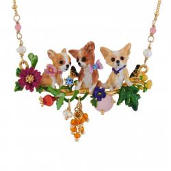 Colliers Plastrons Collier Famille De Chihuahuas Sur Leur Branche Fleurie180,00€ AGLA301/1Les Néréides