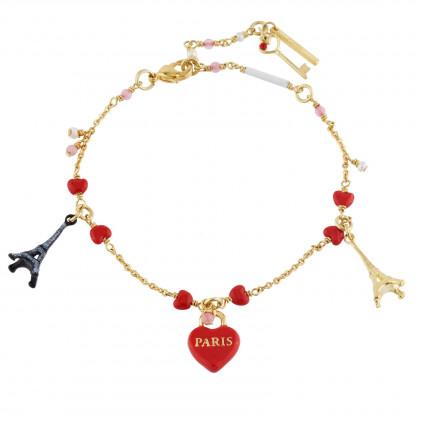Bracelets Charms Bracelet Cadenas Cœur Et Tours Eiffel