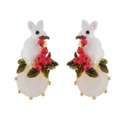 Boucles D'oreilles Clip Boucles D'oreilles Clip Lapin Blanc Pailleté Sur Verre Taillé Et Petites Baies Rouges85,00€ AGNE103C...