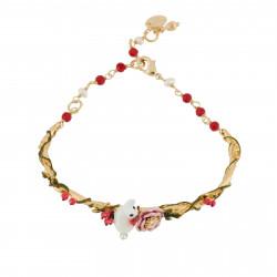 Bracelets Jonc Bracelet Jonc Lapin Blanc Pailleté Et Fleur Rose Sur Parterre De Petites Feuilles Et Baies Rouges130,00€ AGNE...