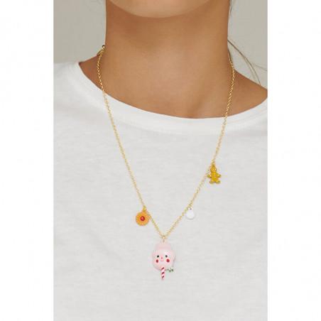 Boucles d'oreilles clip petite fleur rose, perles et verre taillé