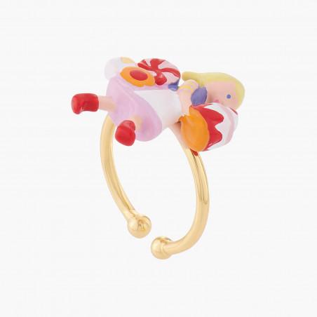 Bracelet cardinal rouge, petite fleur et verre taillé