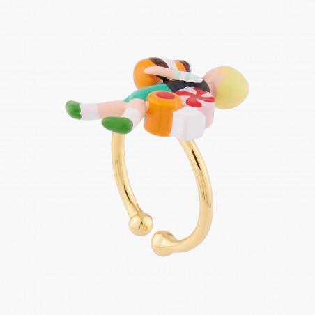 Rabbit and flowered branch asymmetrical earrings