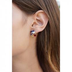 Boucles d'oreilles clip tête de panthère émaillée