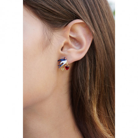 Enameled panther's face clip earrings
