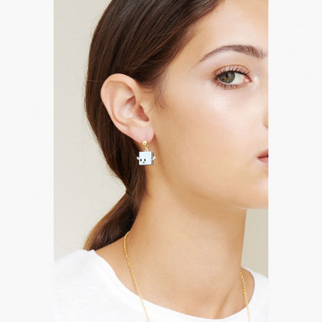 Ballerina paved with azure crystals asymetrical clip earrings